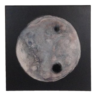 Black White Gray Tan Stone Moon Painting