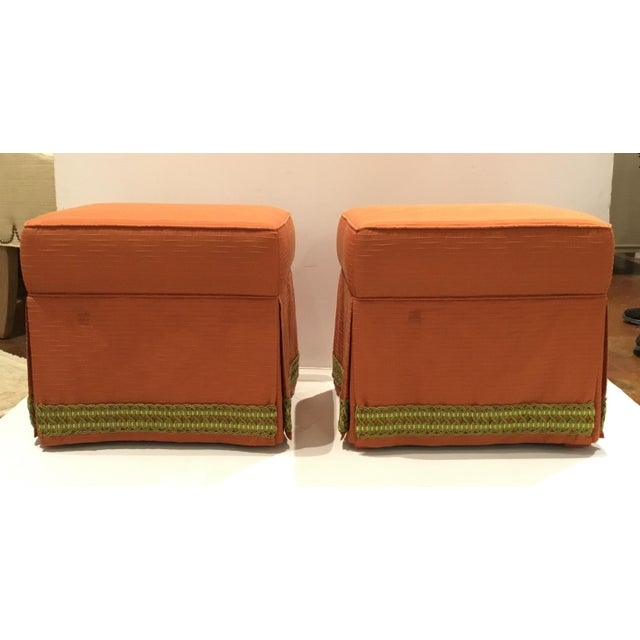 Traditional Custom Peach Ottomans With Decorative Green Band Pair For Sale In Atlanta - Image 6 of 6