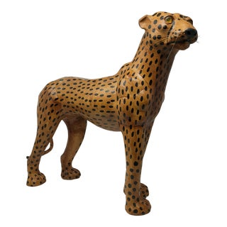 Vintage Leather Cheetah For Sale