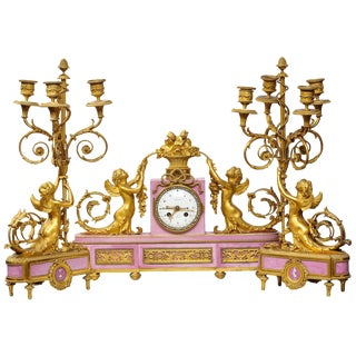 Exquisite French Ormolu and Pink Porcelain Clock Set After Francois Remond For Sale