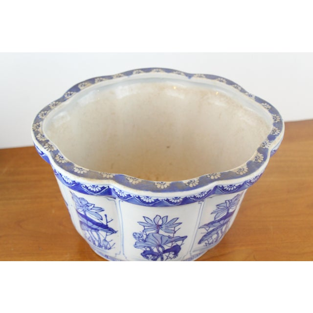 Asian Vintage Mid Century Floral Chinese Planter For Sale - Image 3 of 8