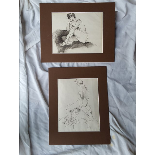 A pair of original artist nude studys. Mounted on acid free mats. Sketched in Pencil. Chinese.