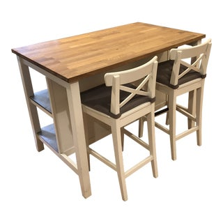 Crate & Barrel Island W/ Storage and Seating For Sale