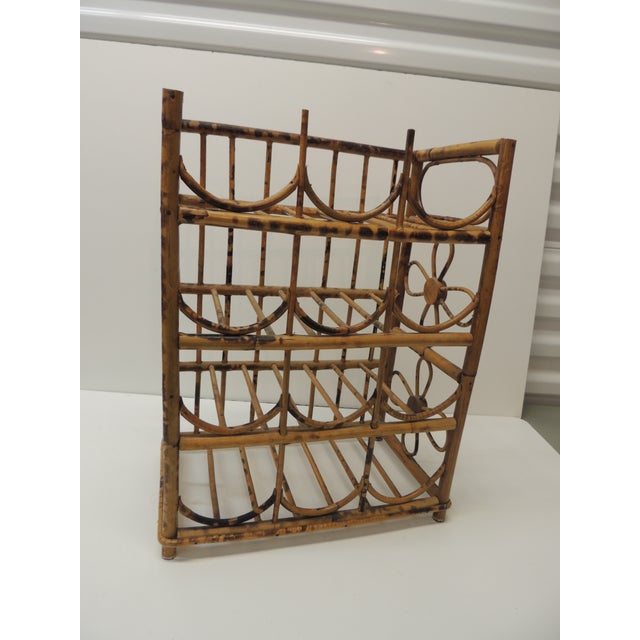 Wood Vintage Faux Tortoise Bamboo Wine Rack For Sale - Image 7 of 7