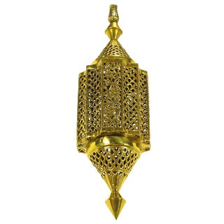 Moroccan Style Reticulated Brass Pendant Light For Sale