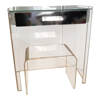 Lucite Mirrored-Drawer Vanity & Stool - A Pair