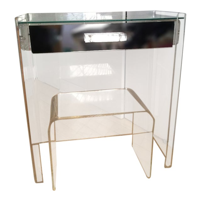 Lucite Mirrored-Drawer Vanity & Stool - A Pair - Image 1 of 13