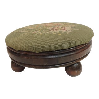 Antique Round Tapestry Upholstered Stool For Sale
