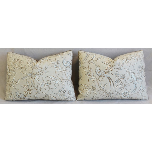 """Cotton Scalamandre Aviary & Velvet Feather/Down Pillows 22"""" X 16"""" - Pair For Sale - Image 7 of 13"""