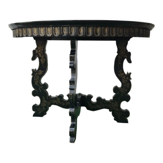 Late 20th Century Vintage Hand Painted Ebony & Gold Demi-Lune Table For Sale