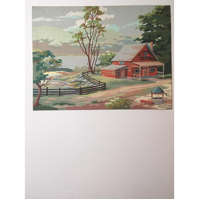 "Vintage Painting of Landscape ""Lakeside Cabin in Countryside"" For Sale - Image 4 of 4"