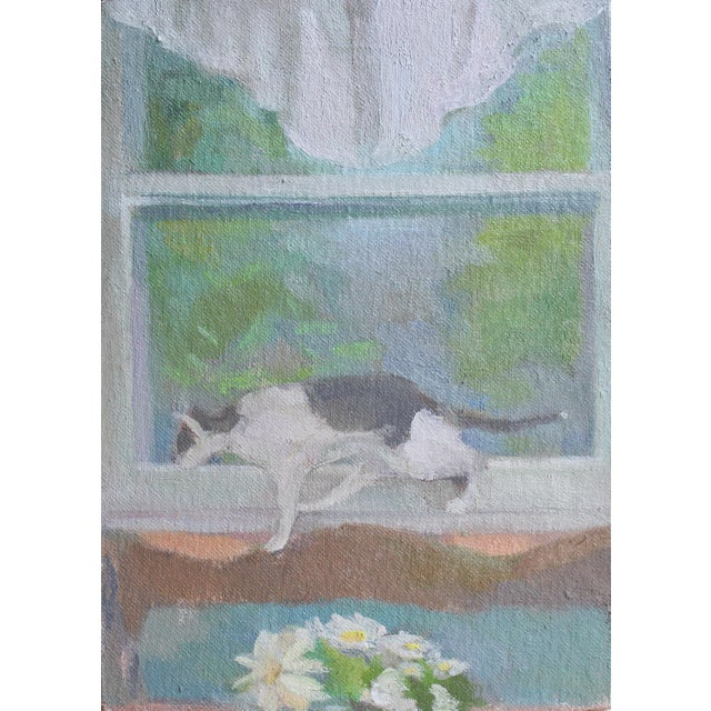 "This is an original painting called ""Window View with Jacques, Daisies, and Valance."" details: oil paint on canvas,..."