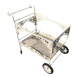 Meadowcraft Serving Cart Vintage Wrought Iron Cart With Ornate Roses & Scrollwork Glass Top on Wheels For Sale