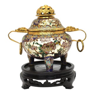 Chinese Cloisonné Lidded Incense Jar on Stand For Sale