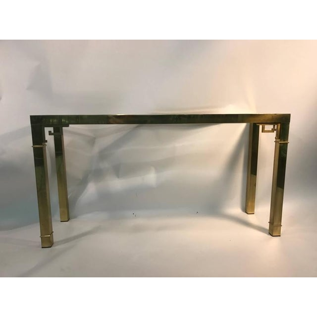 ELEGANT ITALIAN SOLID BRASS CONSOLE TABLE WITH GREEK KEY DESIGN For Sale - Image 4 of 10