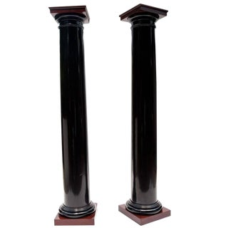 Black Lacquer Wood Columns with Mahogany Caps and Bases For Sale