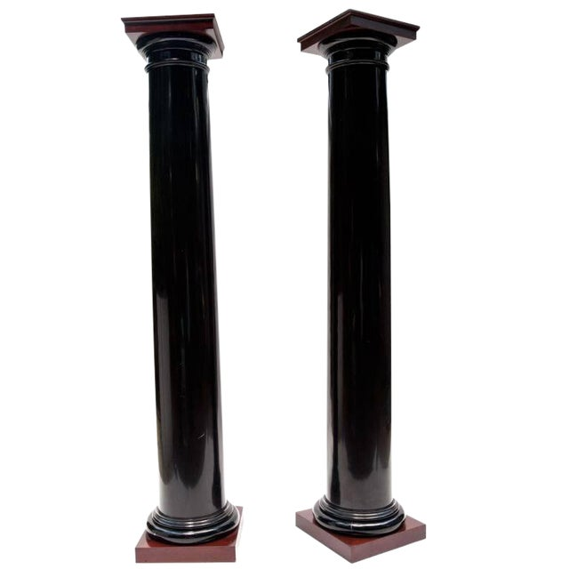 Black Lacquer Wood Columns with Mahogany Caps and Bases - Image 1 of 4