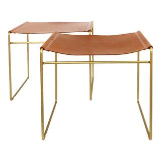 "Austrian Leather & Tubular Brass ""Tilda"" Benches Designed by Nina Mair-A Pair For Sale"