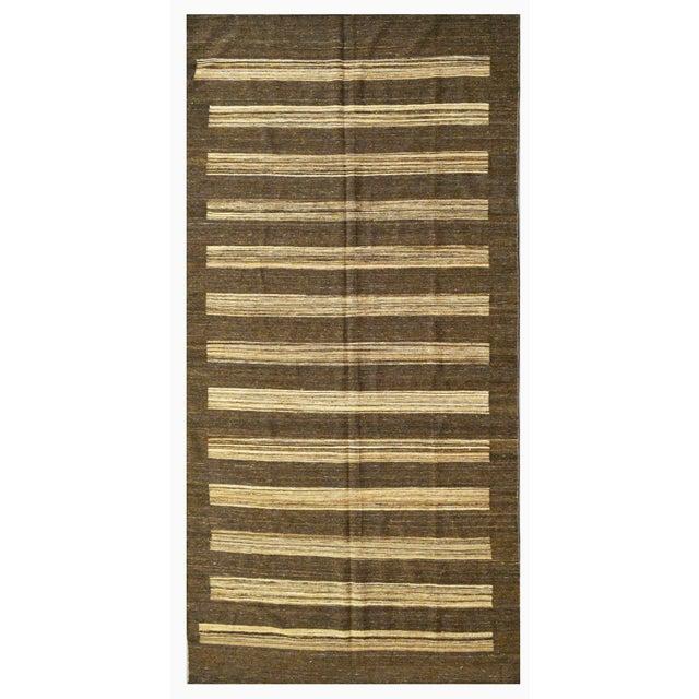 "Afghan Striped Afghan Kilim Rug - 6' x 12'9"" For Sale - Image 3 of 3"