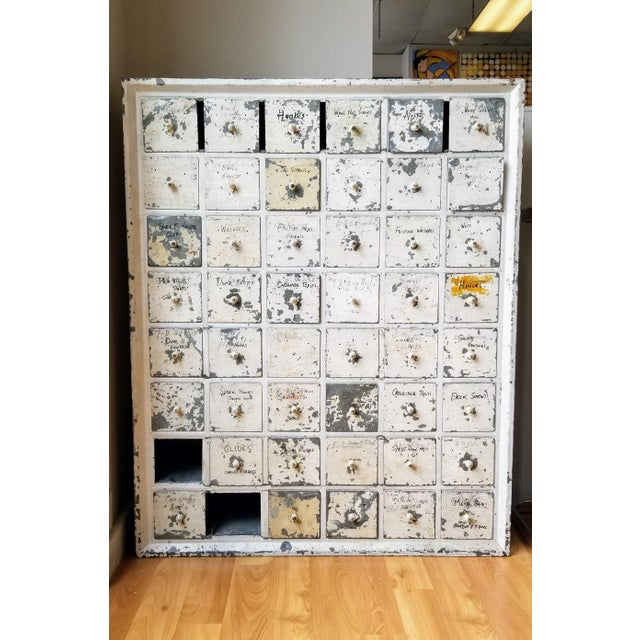 Vintage Industrial Primitive Metal Drawer Organizer Unit For Sale - Image 10 of 10