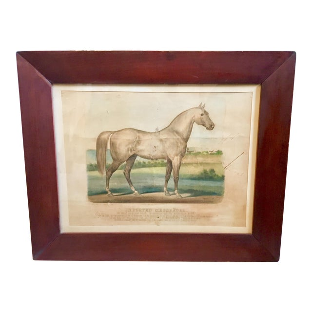 """19th Century Antique Currier & Ives """"Imported Messenger"""" Equestrian Lithograph Print For Sale"""