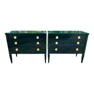 Neoclassical Style Black Lacquered Small Night Stands-A Pair For Sale