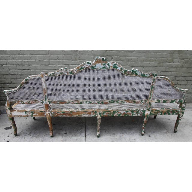 French 19th C. Painted Carved Wood & Cane 3-Section Sofa For Sale - Image 3 of 4