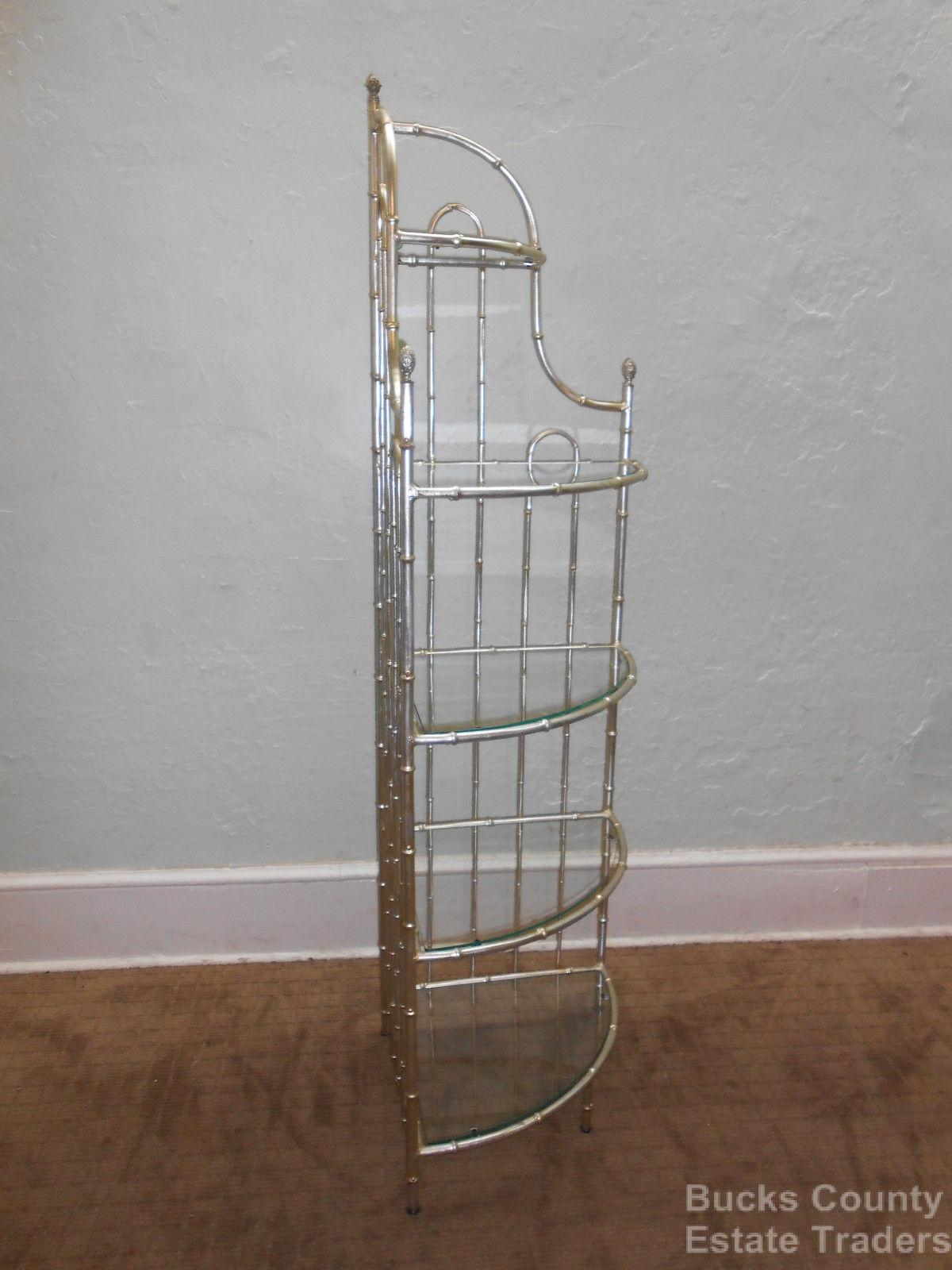 Exceptional Hollywood Regency Faux Bamboo Gilt Metal Etagere   Image 2 Of 10 Idea