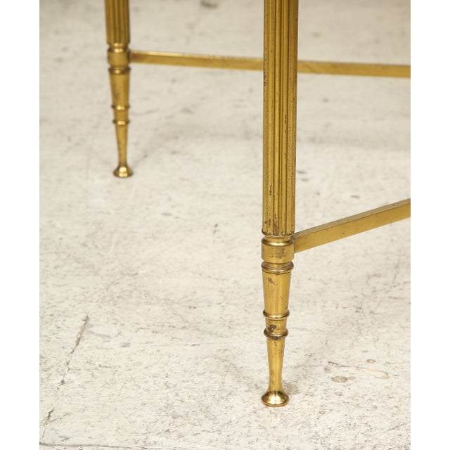 Rectangular Brass Coffee/Cocktail Table With Smoked Glass on Stretcher Base For Sale - Image 10 of 11