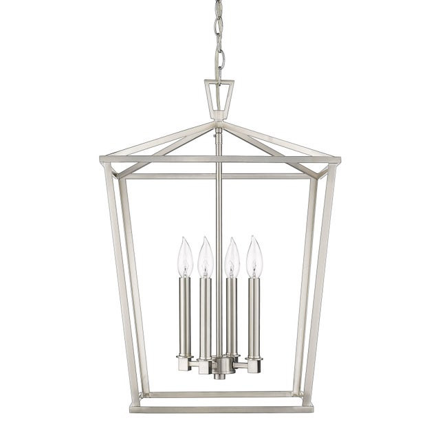 Metal Ponce City 4 Light Pendant, Satin Nickel For Sale - Image 7 of 8
