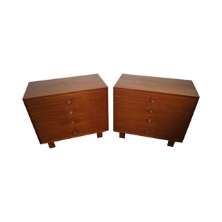 Mid-Century Walnut 4 Drawer Chests - A Pair