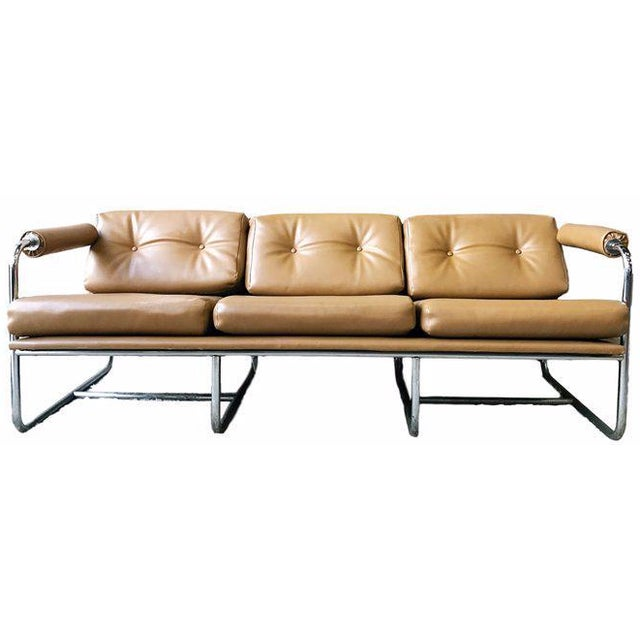 Chrome & Naugahyde Sofa For Sale