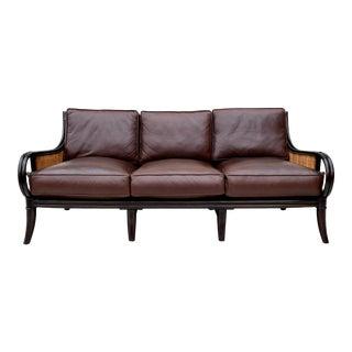 Palecek Leather Rattan & Cane Sofa For Sale