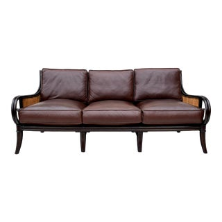 Palecek Leather Rattan & Grascloth Sofa For Sale