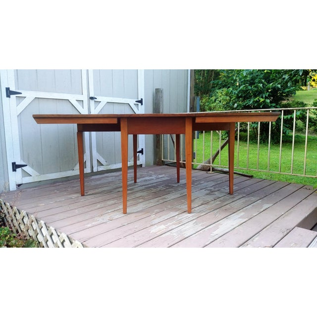 Brown Vintage Mid-Century Modern Solid Pecan Shaker Style Drop Leaf Dining Table For Sale - Image 8 of 13