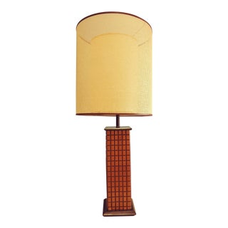 Mid-Century Wooden Lamp With Mesh and Fiberglass Shade For Sale