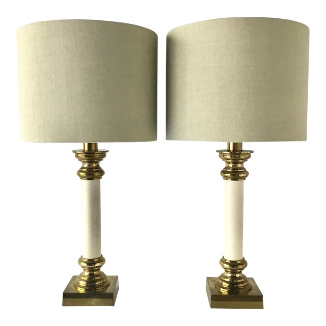 Pair of Rembrandt Brass and Faux Snakeskin Table Lamps 1960s For Sale