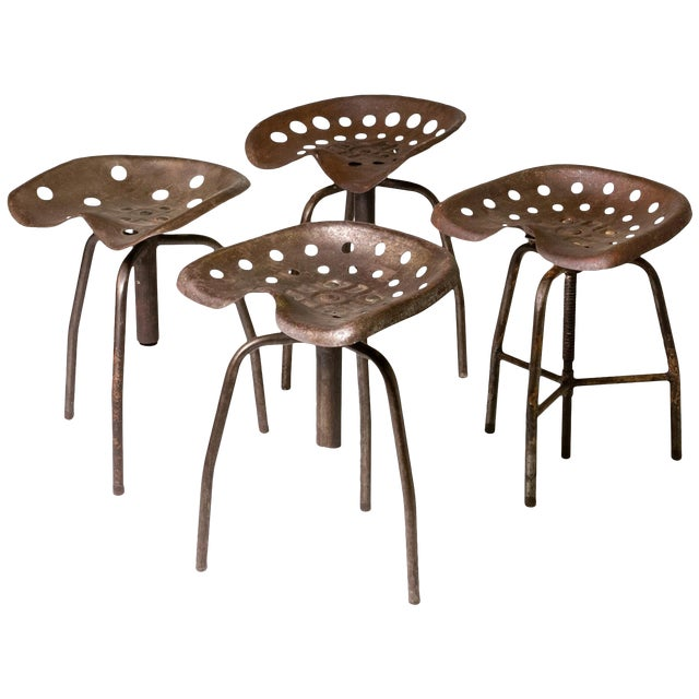 Set of Four Metal Industrial Swivel Stools For Sale