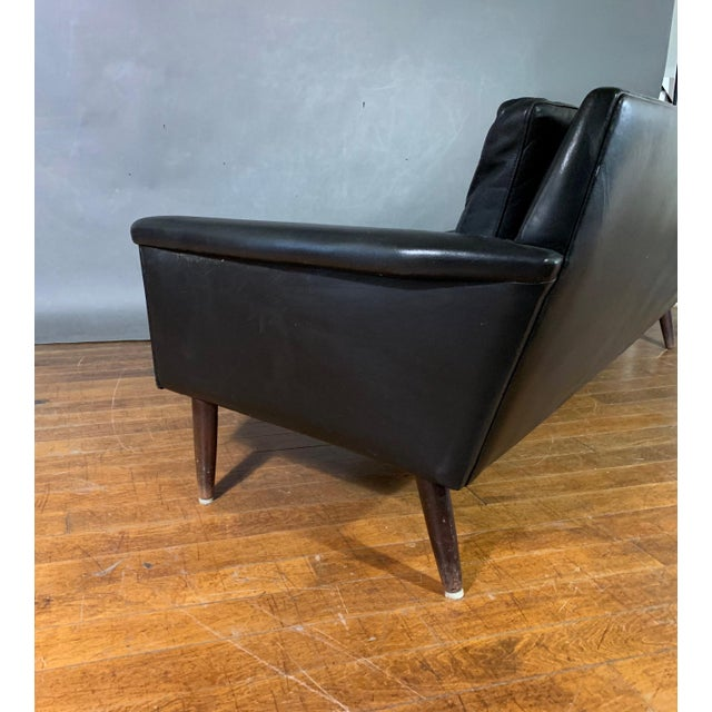 Black Early 1970s Danish Flared-Arm 3-Seat Sofa For Sale - Image 8 of 9