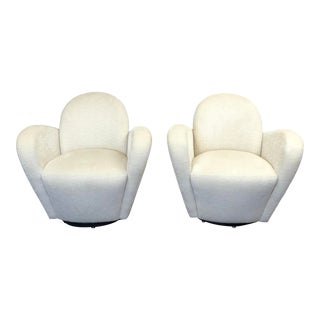1990s Vintage Preview Wrap Around Barrel Swivel Chairs – a Pair For Sale