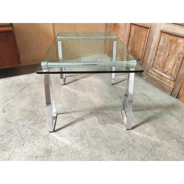 Mid-Century Modern Mirrored Polished Aluminium Sawhorse Table Desk For Sale - Image 4 of 11