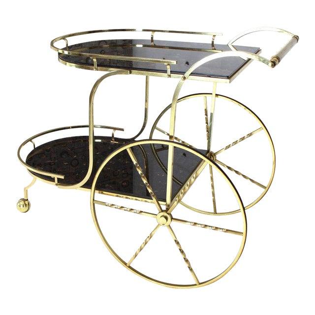 1970s Mid-Century Modern Brass Tortoise Finish Glass Bar Serving Cart For Sale