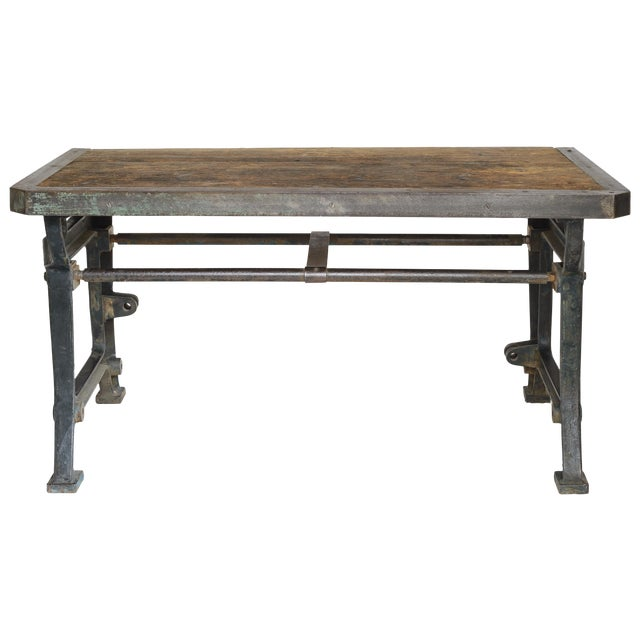 Industrial Iron and Wood Worktable From France - Image 1 of 8