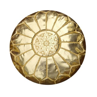 Gold Leather Moroccan Pouf For Sale