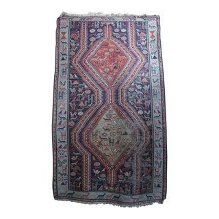 Antique Animal Motif Tabriz Tribal Rug - 4' X 6'11 For Sale