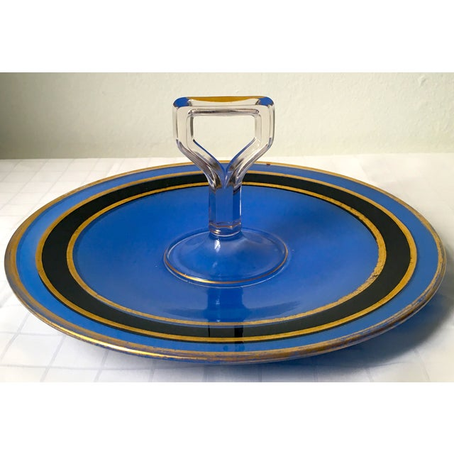 Mid-Century Blue Glass Handled H'ordeuvres Server - Image 2 of 4