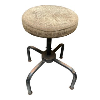 Vintage Industrial Iron and Oil-Cloth 4-Legged Rotating Work Stool For Sale