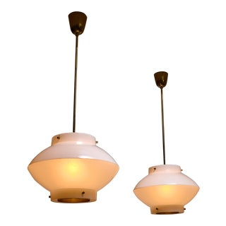 Pair of Yki Nummi White Plexiglass and Brass Pendants for Orno For Sale