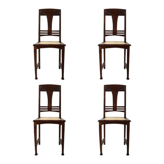 Set of Four German Art Nouveau Dining Chairs For Sale