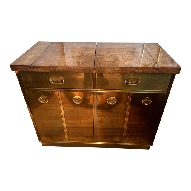 Mastercraft Brass & Burlwood Server - Image 1 of 7